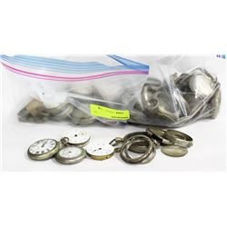 TWO BAGS OF POCKET WATCHES AND PARTS AS IS
