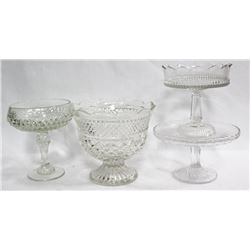 4PC VINTAGE GLASS SERVING SET.