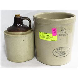 MEDALTA POTTERIES 1/2 GAL CROCK WITH SMALL