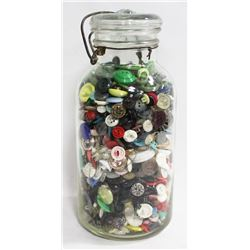 LARGE MASON JAR WITH VINTAGE BUTTONS.