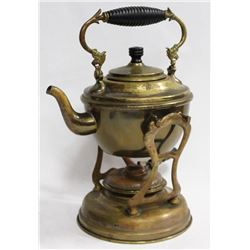 ANTIQUE 1896 BRASS TEAPOT ON STAND WITH WARMER.