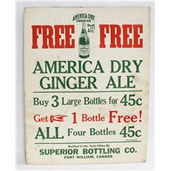 1920S AMERICA DRY GINGERALE ADVERTISING POSTER.