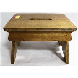 SOLID WOOD GARDEN STOOL/STEP WITH CUT