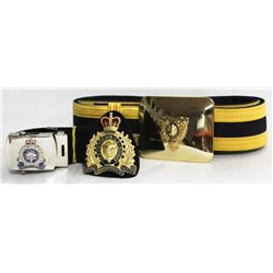 BOX W/VINTAGE RCMP BELT WITH BUCKLE,