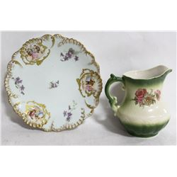 ANTIQUE LIMOGES PHL FRANCE HAND PAINTED PLATE AND