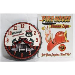 REPOP FIREHOOK TIN SIGN, ROUTE 66 BOTTLE CAP CLOCK