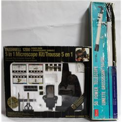 BUSHNELL 1200 POWER ZOOM MICROSCOPE 5 IN 1 KIT AND