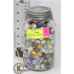 JAR OF ANTIQUE AND VINTAGE MARBLES
