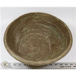 31) JANO LETTS LARGE CERAMIC BOWL, BROWN GLAZE,