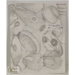 117) MARY BORGSTROM SIGNED CIRCULAR DRAWING