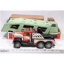 FLAT WITH 2 ANTIQUE TONKA CARRIER TRUCKS AND