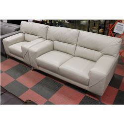 "WHITE LEATHERETTE 68"" LOVE SEAT WITH 42"" CHAIR"