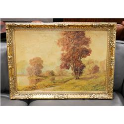 GOLD TONE FRAMED OIL PAINTING BY MARTENSEN.