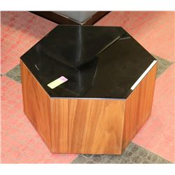 SMALL PENTAGON SHAPED GLASS TOP END TABLE