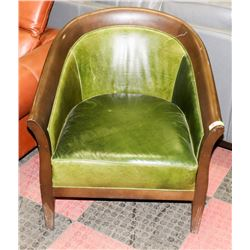 WOOD AND GREEN LEATHERETTE ARM CHAIR