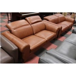 "GENUINE BROWN LEATHER LIFT BACK 90"" SOFA W/ 77"""