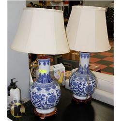 LOT OF 2 BLUE CHINA LAMPS