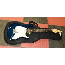 PEAVEY EXP BLUE ELECTRIC GUITAR WITH SOFT CASE.
