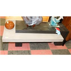 TWO TONE CONCRETE AND WOOD TONE COFFEE TABLE,