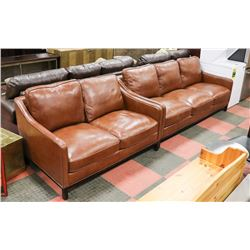 """NEW BROWN LEATHERETTE 79"""" SOFA W/ 55"""" LOVESEAT"""