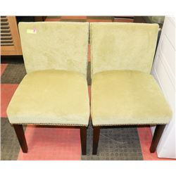 PAIR OF GREEN FABRIC NAILHEAD SIDECHAIRS