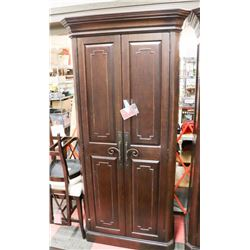 "LARGE WOOD ARMOIRE, 45""X23""X87.5""."
