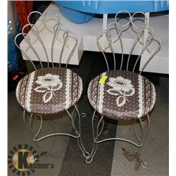 2 METAL BACK CHAIRS WITH CLOTH COVERED SEATS