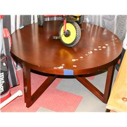 ROUND WOOD TONE COFFEE TABLE