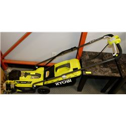 "RYOBI 13"" 18V LITHIUM LAWNMOWER AND WEEDEATER"