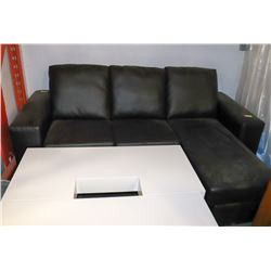 "NEW BLACK LEATHERETTE 82"" CHAISE LOUNGE SECTIONAL"