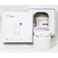 PAIR OF NEW I7S WHITE WIRELESS EARBUD HEADPHONES