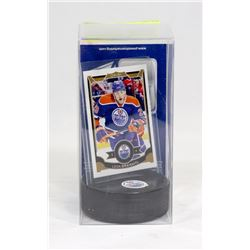 LEON DRAISAITL ROOKIE CARD AND PUCK HOLDER
