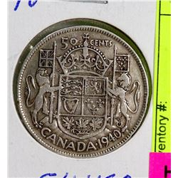 1940 CANADIAN SILVER 50 CENT COIN.
