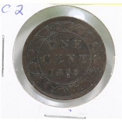 1888 CANADIAN QUEEN VICTORIA 1 CENT COIN