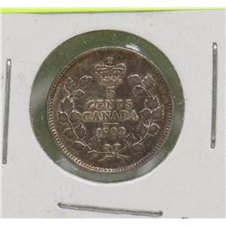 1902 EDWARD VII 5 CENT COIN, 1ST YEAR ISSUED