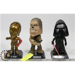 C-3PO, KYLO REN & CHEWBACCA BOBBLE HEADS.