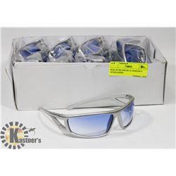 BOX OF SILVER BLUE DESIGNER SUNGLASSES.