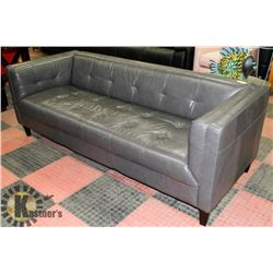"LEATHERETTE 85"" GREY COUCH"