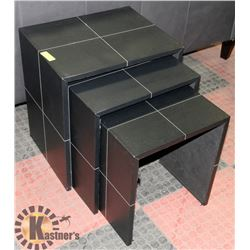 SET OF 3 NESTING LEATHERETTE TABLES