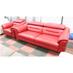 NEW RED GENUINE LEATHER ELECTRIC RECLINING