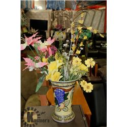 CRACKLE GLASS VASE WITH ARTIFICIAL FLOWERS