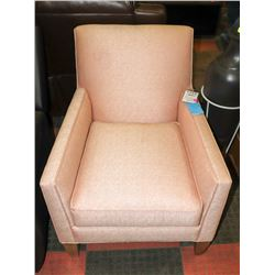 PINK UPHOLSTERED ARM CHAIR. FURNITURE