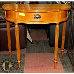 HALF MOON WOOD SIDE TABLE WITH DRAWER
