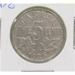 KEY DATE 1926 CANADIAN 5 CENT COIN