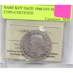 RARE KEY DATE 1948 GVI 50 CENT COIN-CERTIFIED