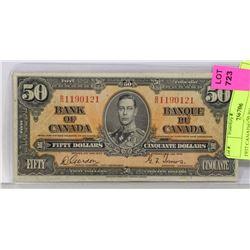 1937 CANADIAN $50 BILL