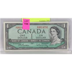 CHOICE UNC 1954 CANADIAN $1 NOTE