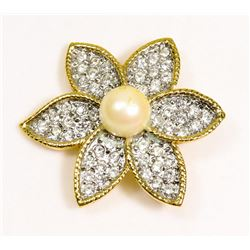VINTAGE ESTATE FLOWER BROOCH WITH RHINESTONES &
