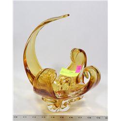 AMBER ART GLASS CENTER PIECE DISH