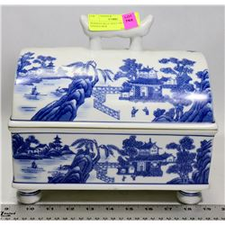 BOMBAY BLUE WILLOW PATTER LIDDED BOX